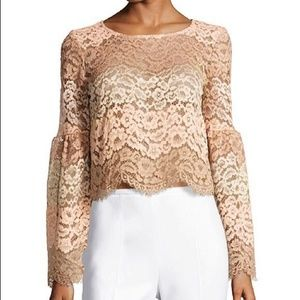 WAYF • Time Stops Lace Tiered Tan and Cream Blouse